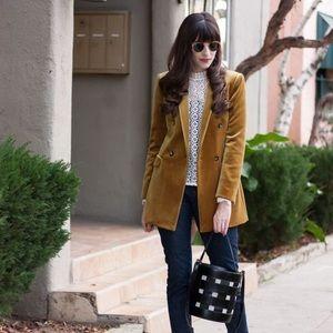 Gold yellow velvet blazer